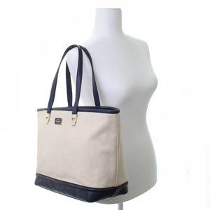 NWT Kate Spade Oliver Canvas Natural Navy Tote